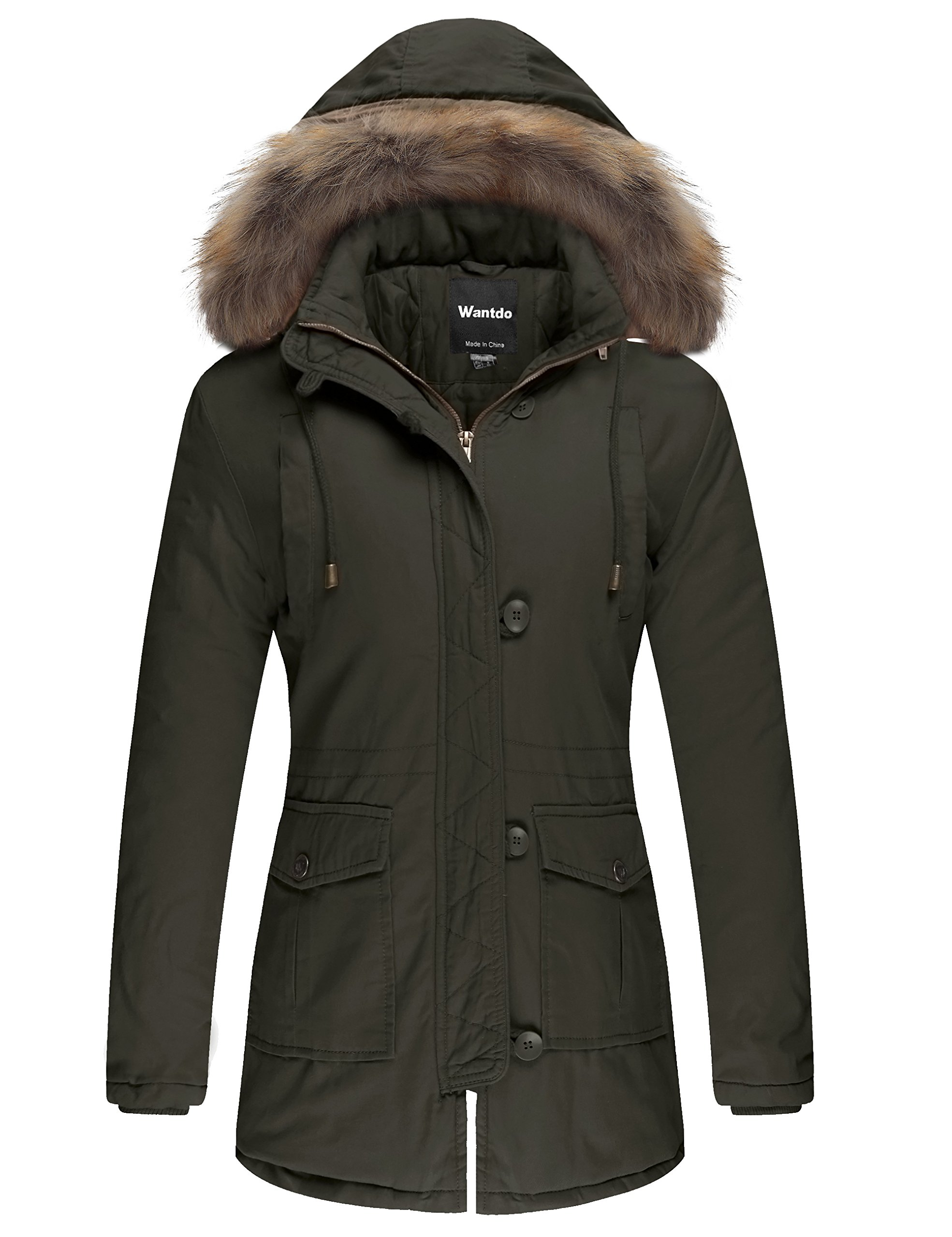 Wantdo Women's Cotton Padded Parka Coat with Removable Fur Hood (Army Green, US L)