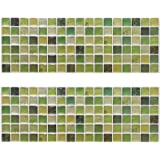 Beaustile Green Mosaic 3D Wall Sticker Home Decor 2 Sheets Fire Retardant Backsplash Wallpaper Bathroom Kitchen DIY Plain Design