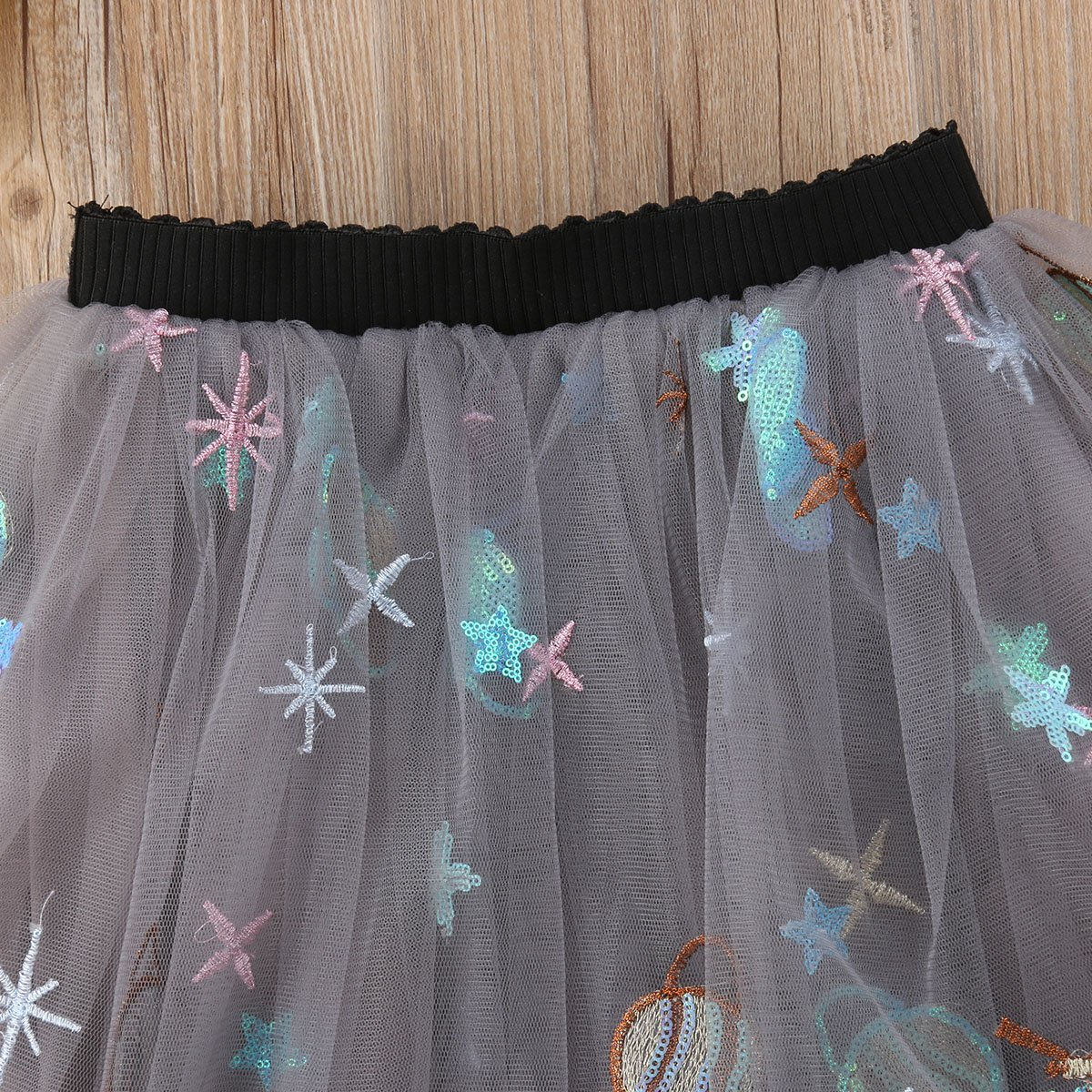 remeo suit Baby Girl Embroidered Glitter Tulle Skirt Mini Dress with Sequin Decor