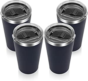 YESSIR 16oz Stainless Steel Tumbler 4 Pack Gifts In Bulk, Reusable Double Wall Vacuum Insulated Travel Mugs with Lid,Powder Coated Coffee Cups for Ice Drink, Hot Beverage(Navy,4)