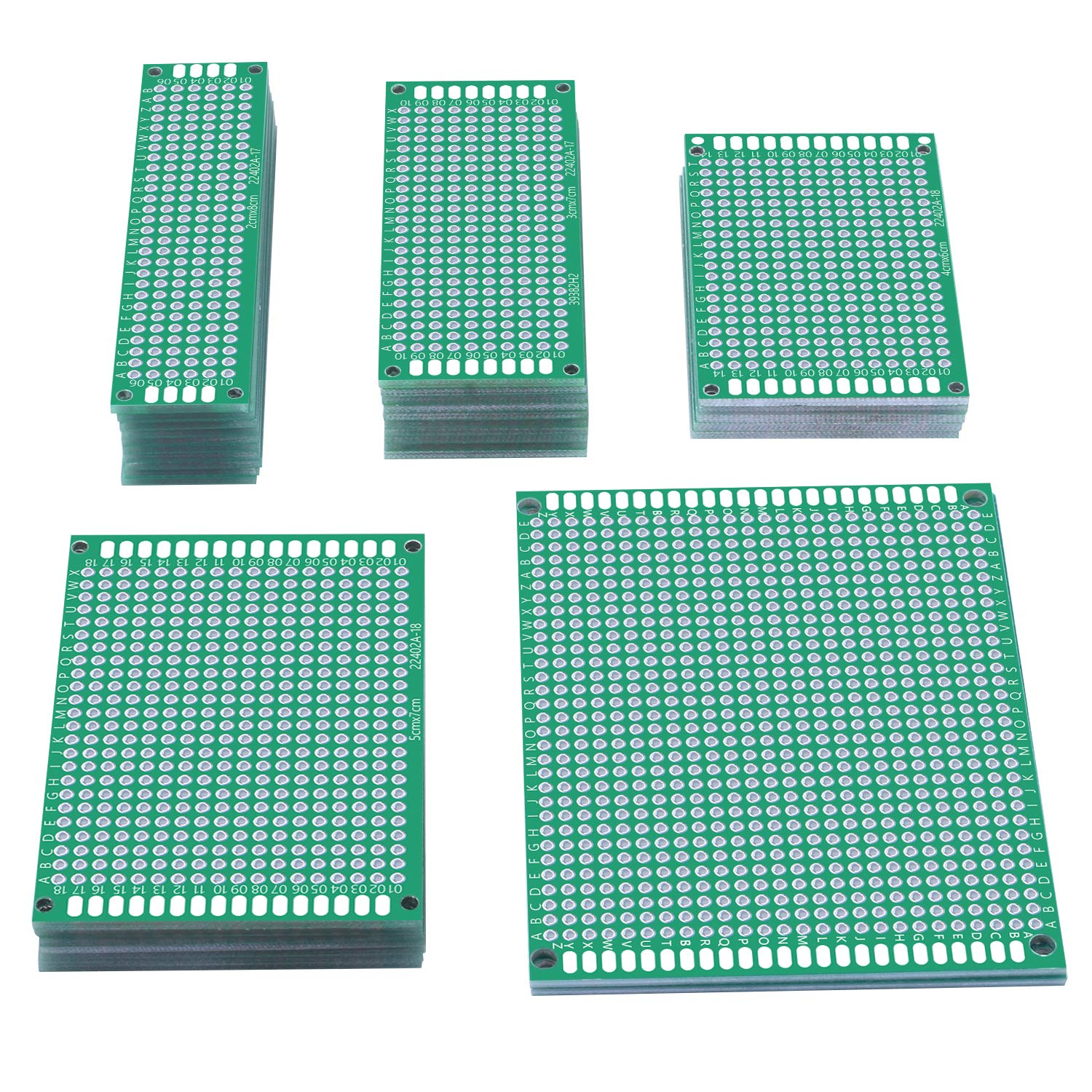 UNIROI 35pcs Double Sided PCB Board Prototype Kit, 5 Sizes Universal Printed Circuit Board for DIY Soldering and Electronic Project UA042
