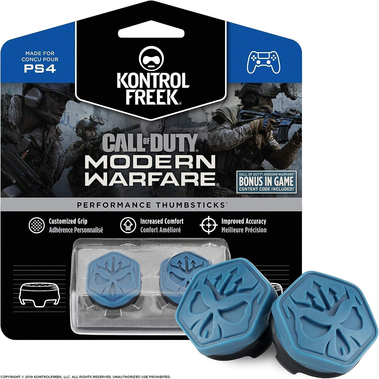 KontrolFreek Call of Duty Modern Warfare Performance Thumbsticks para PlayStation 4 (PS4) | 2 Media-Altura, Convexo | Azul/Negro: Amazon.es: Videojuegos