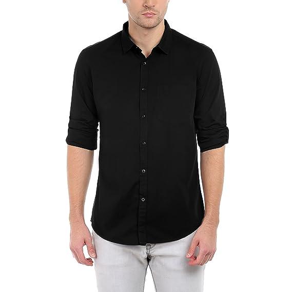 9d92815812 Dennis Lingo Men s Plain Slim Fit Casual Shirt (C301 Black Small)