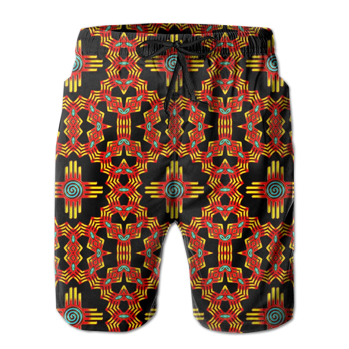 New Mexico Sun Zia Pattern Mens Lightweight Beach Board Shorts Casual Classic Pockets Beachwear