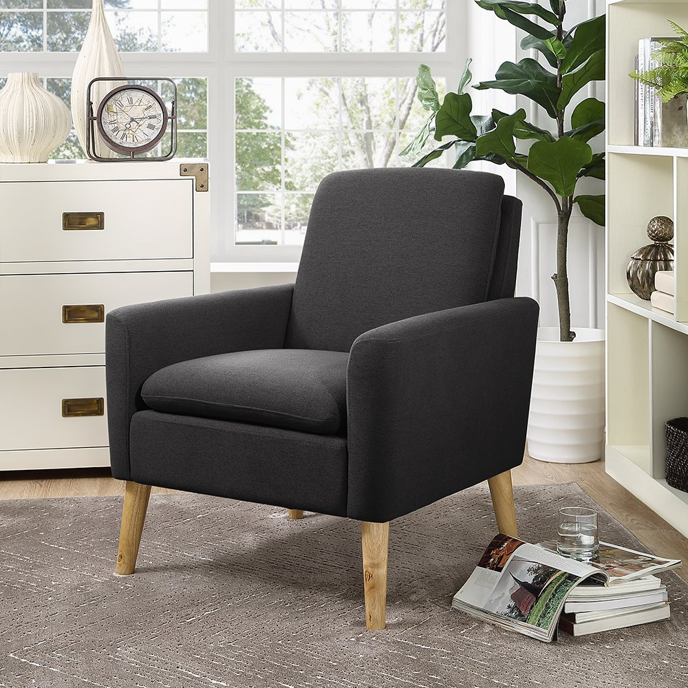 Lohoms Modern Accent Fabric Chair Single Sofa Comfy Upholstered Arm Chair  Living Room Furniture Dark Grey