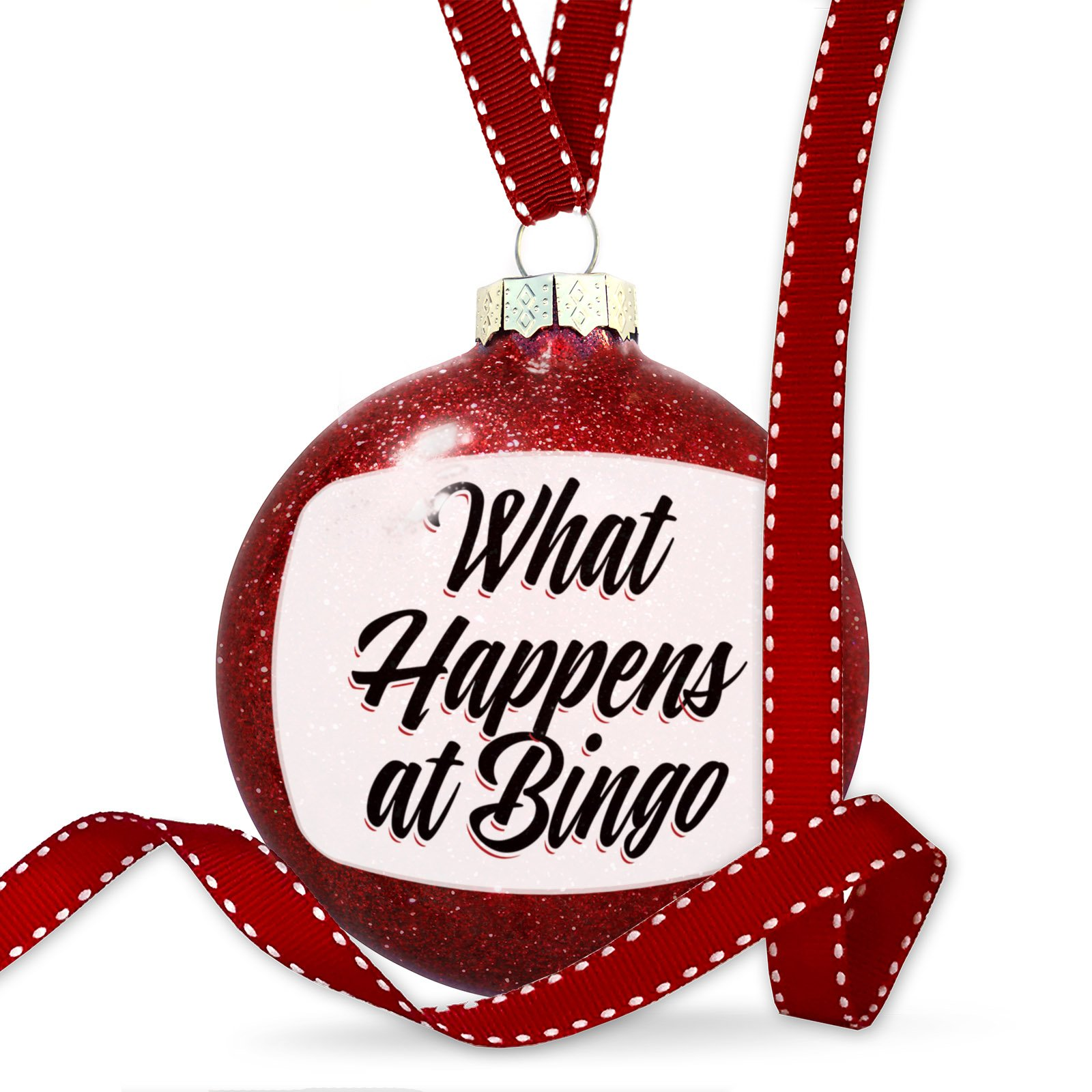 Christmas Decoration Vintage Lettering What Happens at Bingo Ornament by NEONBLOND