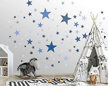 50 Sterne Wandtattoo Furs Kinderzimmer Wandsticker Set Pastell Farben Baby Sternenhimmel Zum Kleben Wandaufkleber Sticker Wanddeko Kleinkinder Erstausstattung Auf Rauhfaser Blau Amazon De Baumarkt