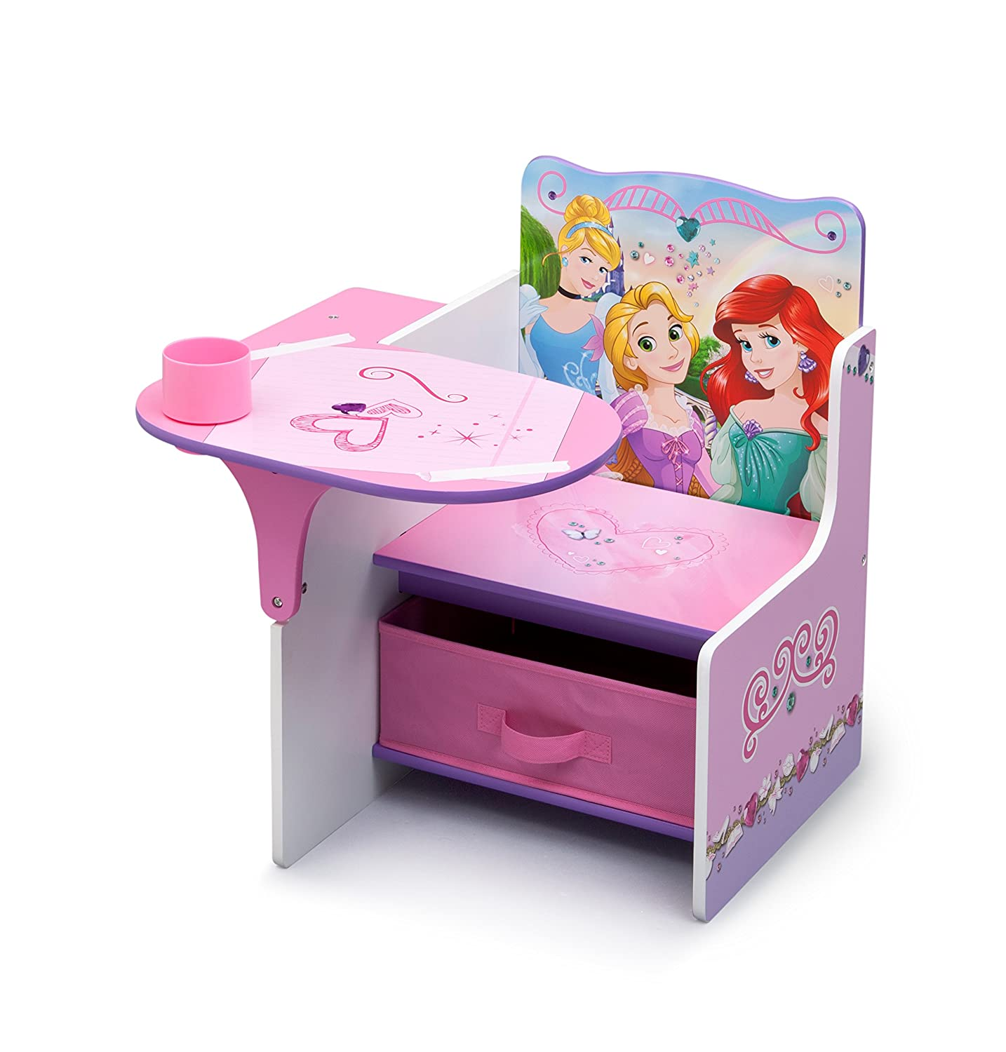 Disney Princess Chair Desk with Storage Bin E Purple Amazon
