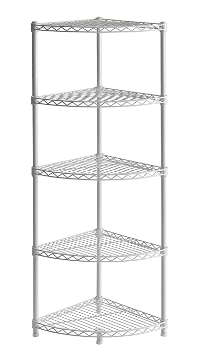 "Muscle Rack WSCR141447 5-Shelf Steel Wire Corner Shelving Unit, 14"" Width, 47"" Height, 14"" Depth"