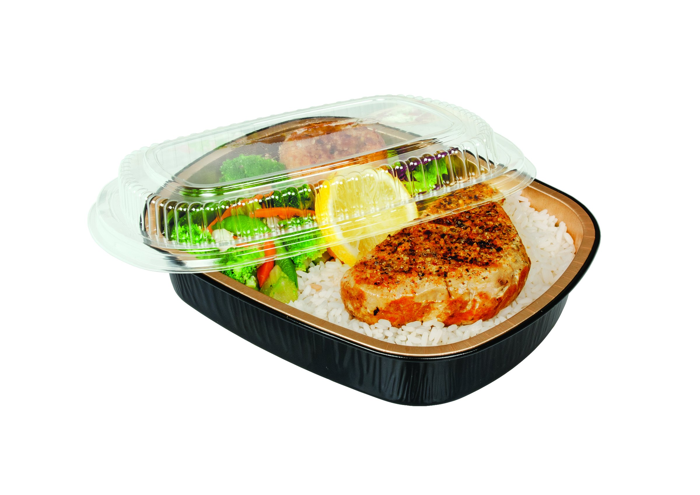 Durable Packaging Black and Gold Pan with Lid, Medium (Pack of 50) by Durable Packaging (Image #1)