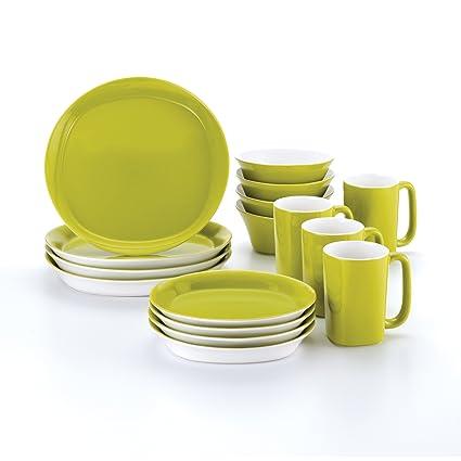 Rachael Ray Dinnerware Round and Square 16-Piece Dinnerware Set Green  sc 1 st  Amazon.com & Amazon.com: Rachael Ray Dinnerware Round and Square 16-Piece ...