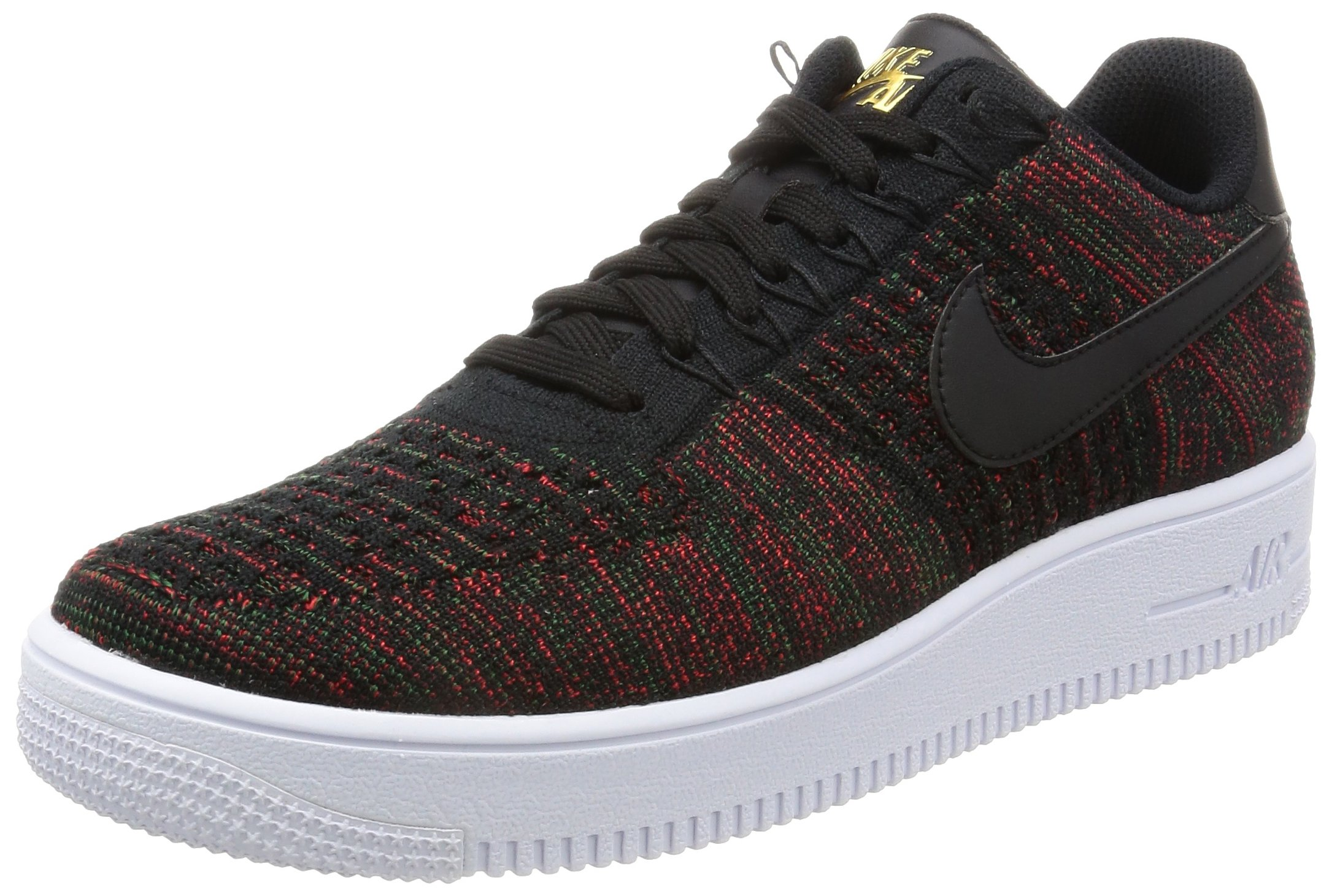 cheaper 8bc54 a6212 Nike Mens Air Force One Flyknit Low Black/Metallic Gold/White 817419-005  (SIZE: 10)