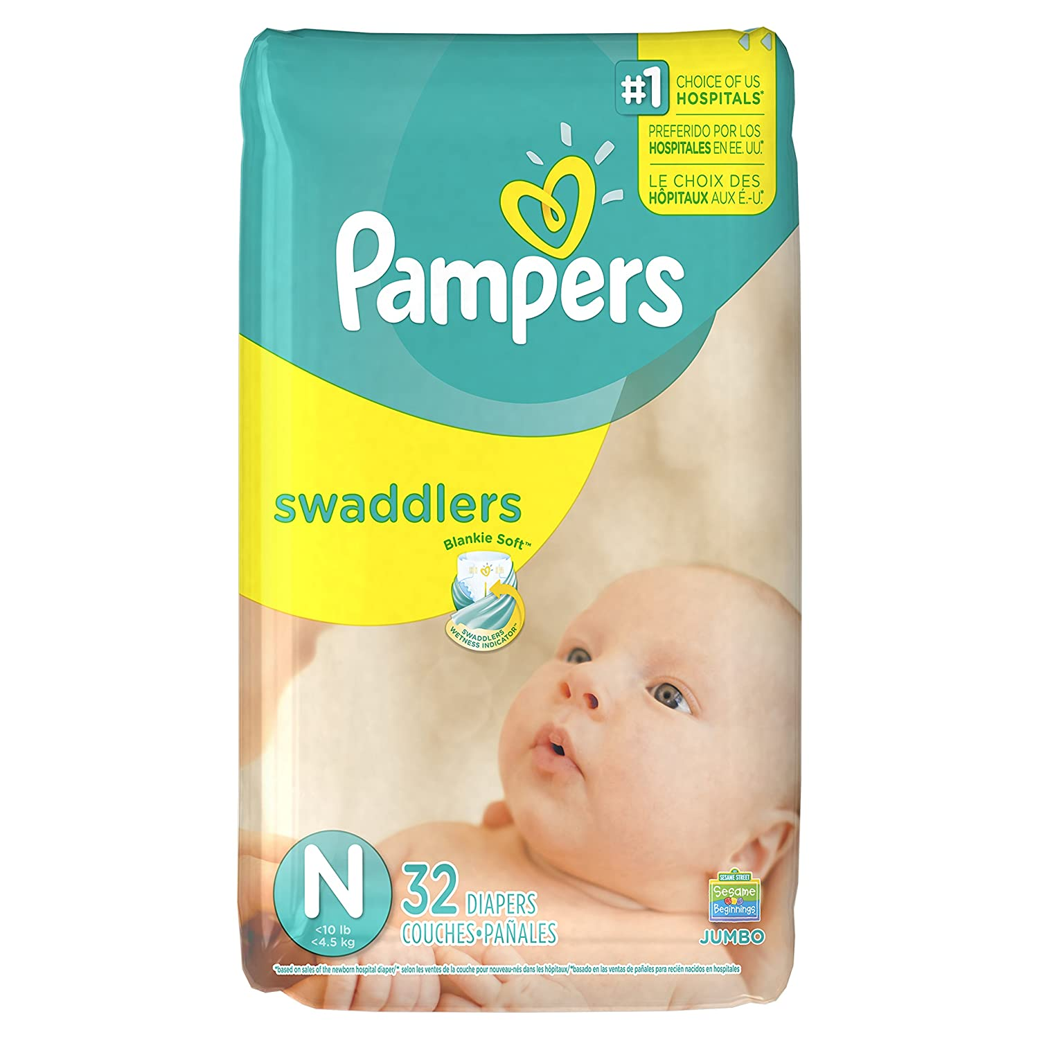Amazon.com: Pampers Swaddlers Newborn Disposable Diapers Size N, 32 ...