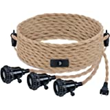 Triple Pendant Light Cord Kit with Independent Switch Hemp Rope Vintage Hanging Lighting Cord Fixture Compatible with E26 for
