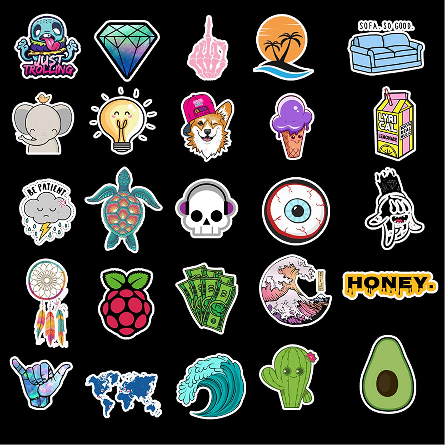 ONDY 50pcs Astronaut Space Graffiti Stickers Suitcase Skateboard Guitar Travel Case Door Decals Water Bottle Laptop Luggage Car Bike Bicycle Clings Super Waterproof Astronaut Space
