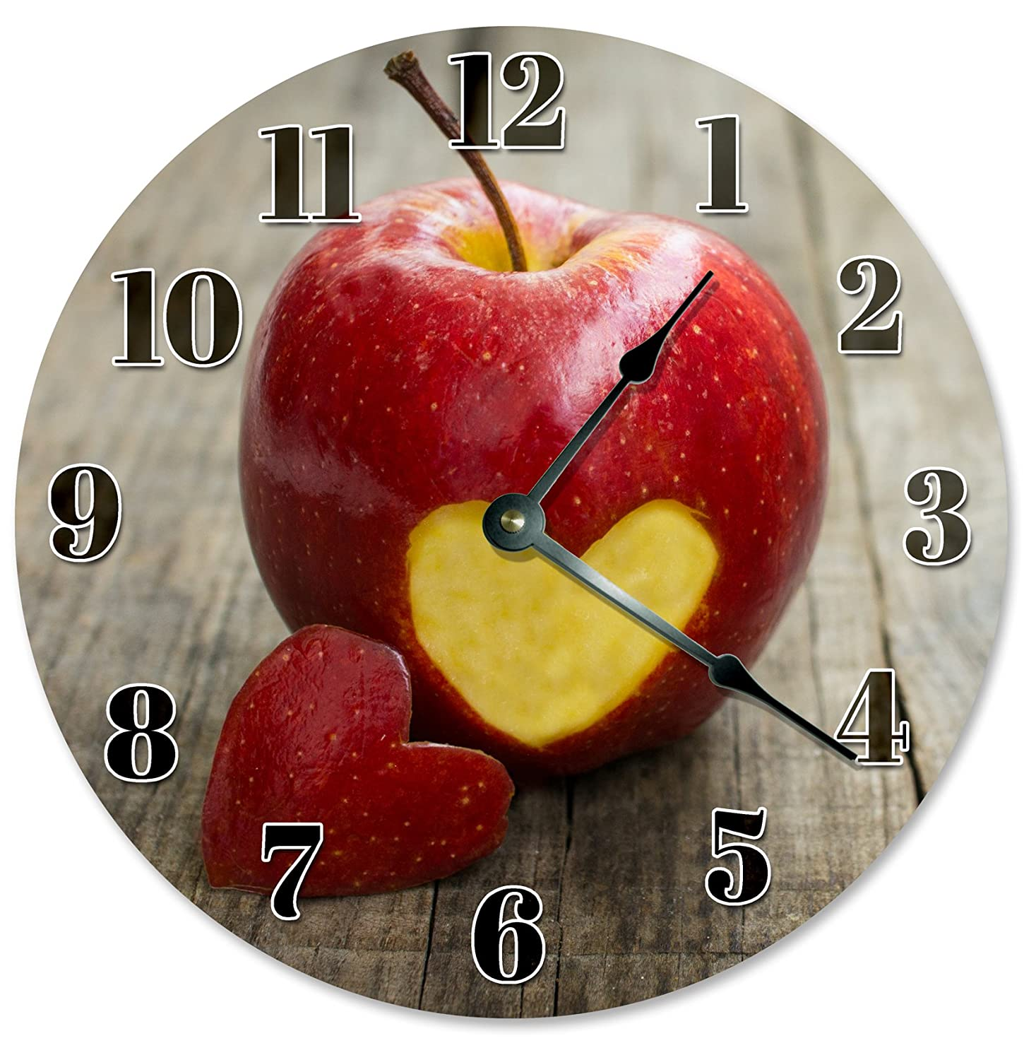 "Large 10.5"" Wall Clock Decorative Round Wall Clock Home Decor Novelty Clock APPLE WITH HEART CUT OUT"