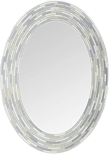 Headwest Reeded Charcoal Oval Tiles Wall Mirror, 23 inches by 29 inches, 23 x 29