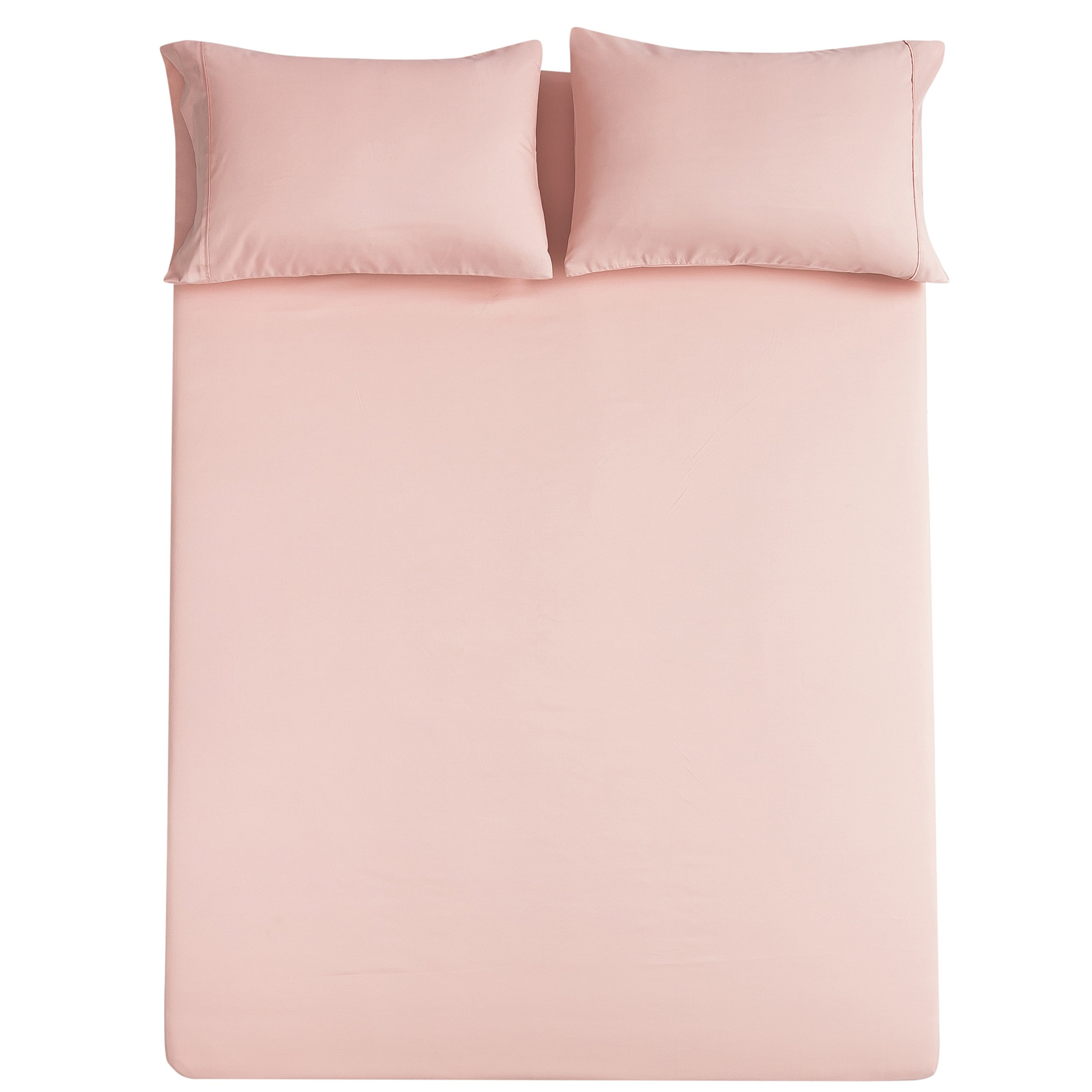 Bed Sheet Set Brushed Microfiber Soft Bedding Fade and Stain Resistant Hypoallergenic 4 Piece Queen, Blush Pink