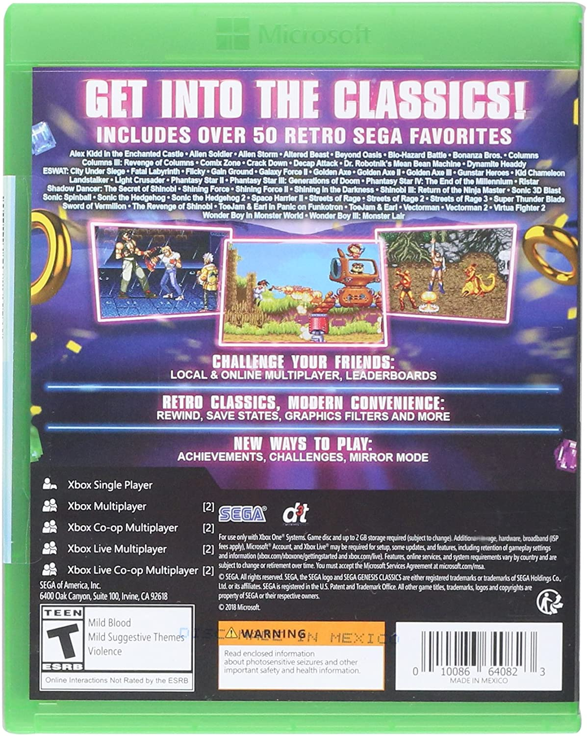 Amazon com: SEGA Genesis Classics - Xbox One: Sega of America Inc