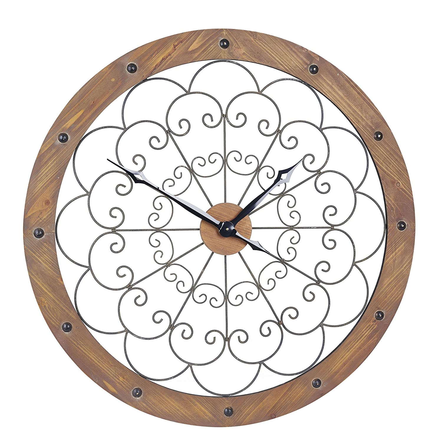 Amazon household essentials large oversized decorative rustic amazon household essentials large oversized decorative rustic wall clock brown wood black metal home kitchen amipublicfo Gallery