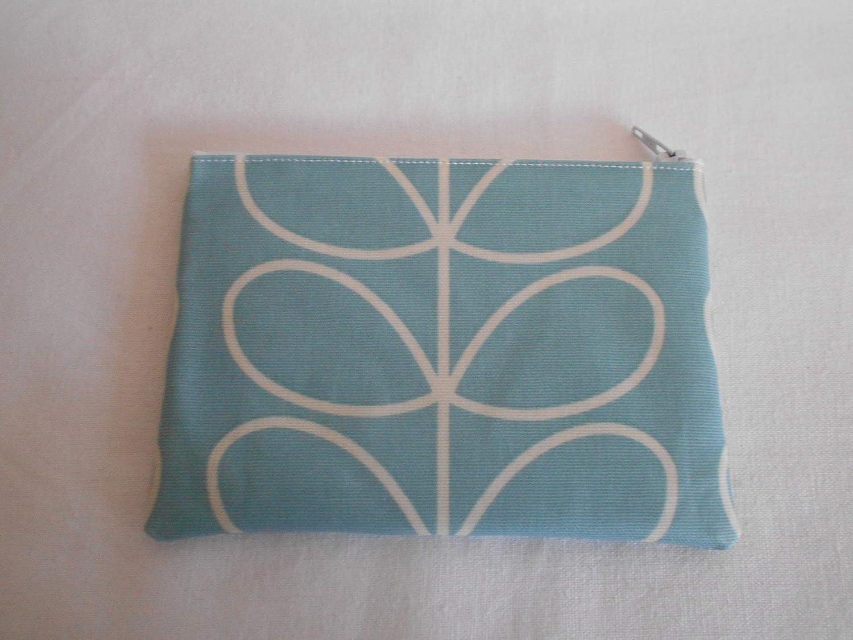 Handmade Handbag Oilcloth Make Up Bag//Purse Light Blue Linear Stem Fabric