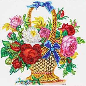DIY 5D Special Shaped Diamond Painting by Number Kits, Alloyseed Flower Basket Partial Drill Rhinestone Pictures Art Craft for Christmas Mother's Day Home Decor 11.8x11.8 inches