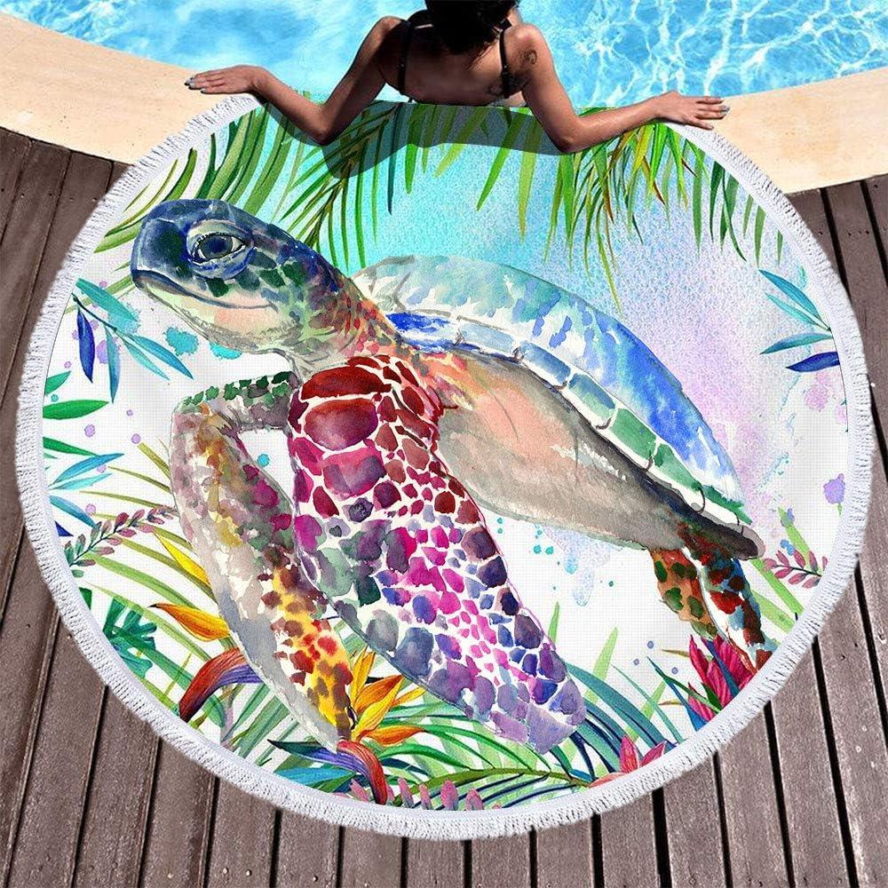 Serviette de Plage Ronde 150cm,Soleil Morbuy Drap de Plage 59 inch Organisme Aquatique Nappe Houppe Absorption deau Tenture Housse de Canap/é en Tissu 2 Clips