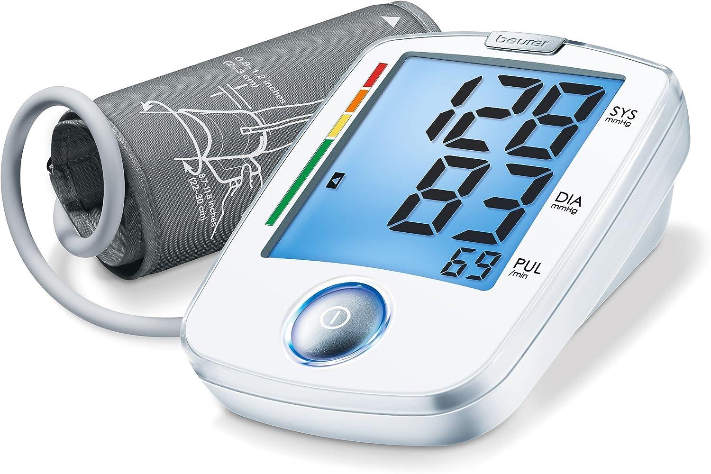 Beurer BM44 - Tensiómetro de brazo, indicador OMS, fácILfuncionamiento 1 botón, color blanco