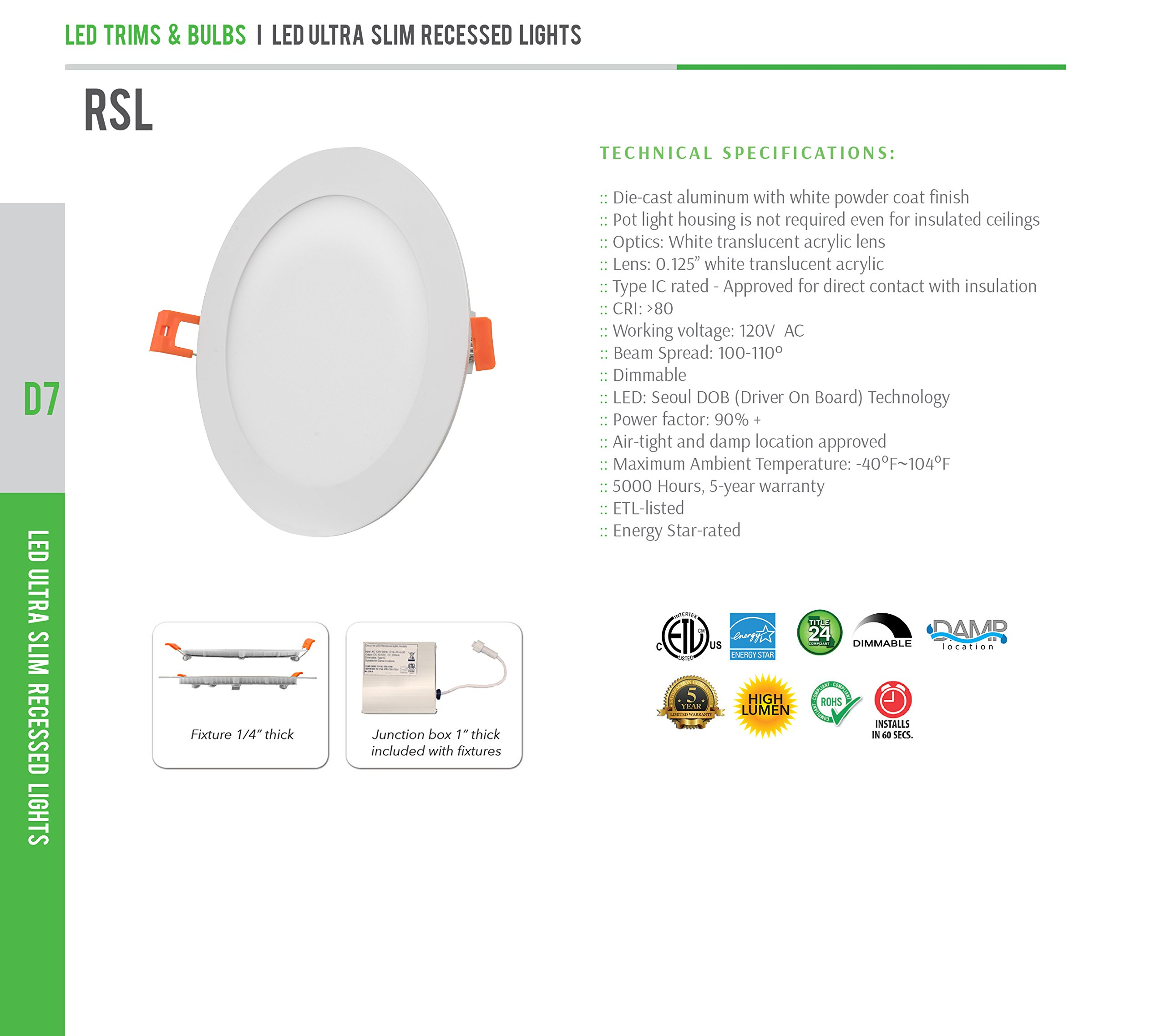 Westgate Lighting 15W 6'' Inch Ultra Thin Slim LED Recessed Light - Dimmable Retrofit Downlight Smooth Trim - Junction Box Included - No Housing Required - Ceiling Lights (8 Pack, 3000K Soft White) by Westgate (Image #7)