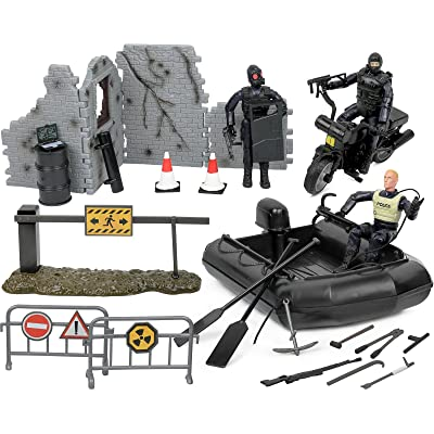 Click N' Play Military Police Elite SWAT Patrol Team 32 Piece Play Set with Accessories: Toys & Games