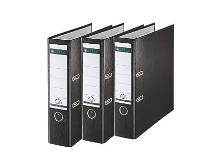 Leitz 310335095 - Juego de 3 archivadores (A4, ancho del lomo: 80 mm), color negro