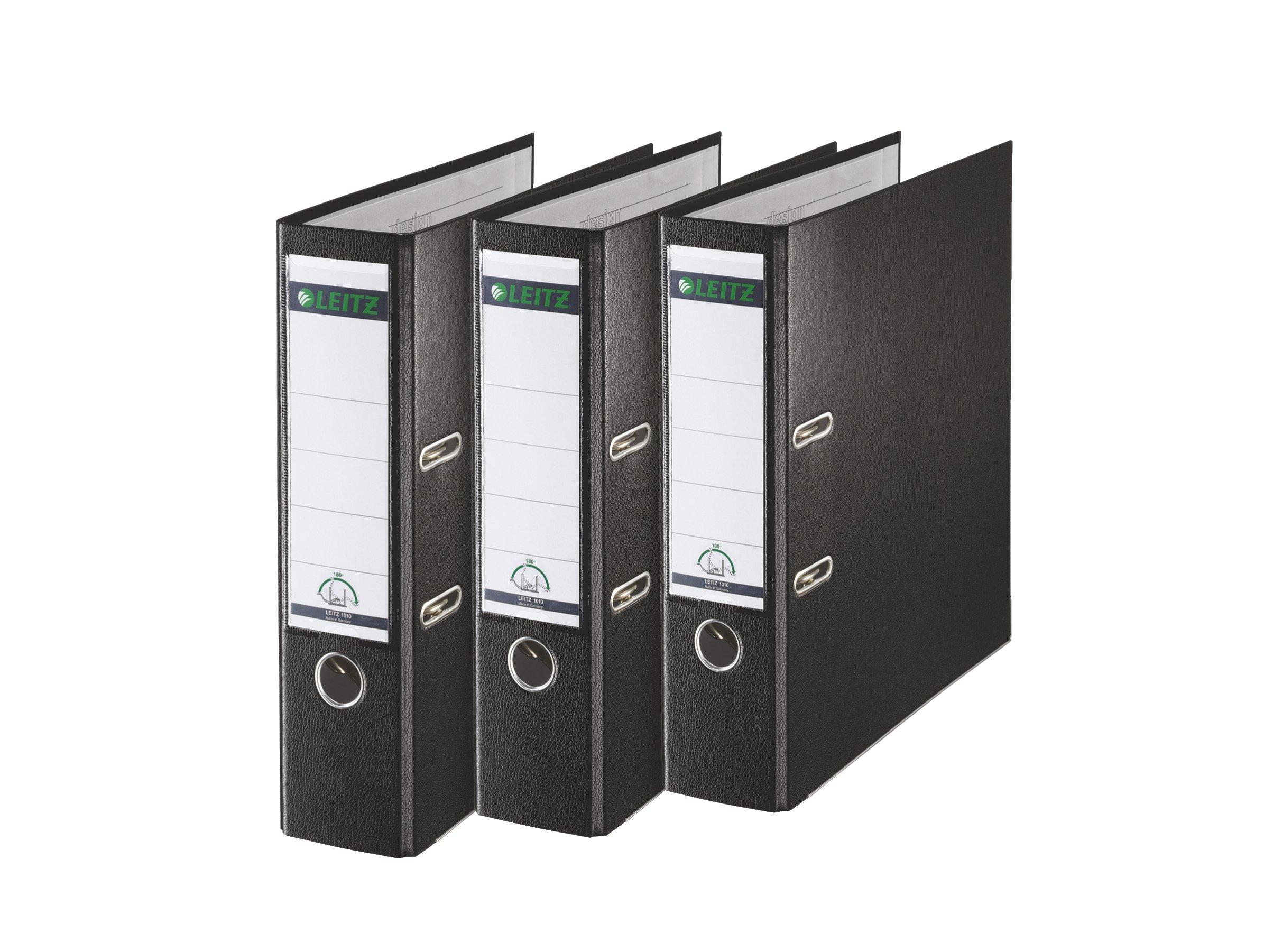 Leitz 180 Degrees Plastic Lever Arch File, 80 mm Spine - A4, Black, Pack of 3