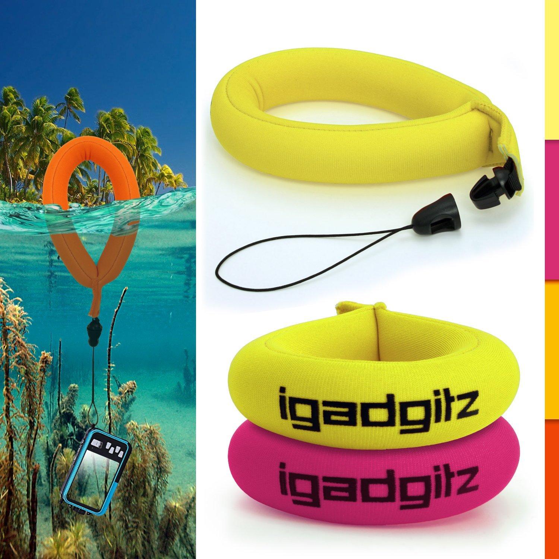 iGadgitz 2 Pack Neon Yellow & Pink Waterproof Floating Wrist Strap suitable for Underwater/Waterproof: Cameras, Video cameras, cases & housing, Marine binoculars + Waterproof Sony phones