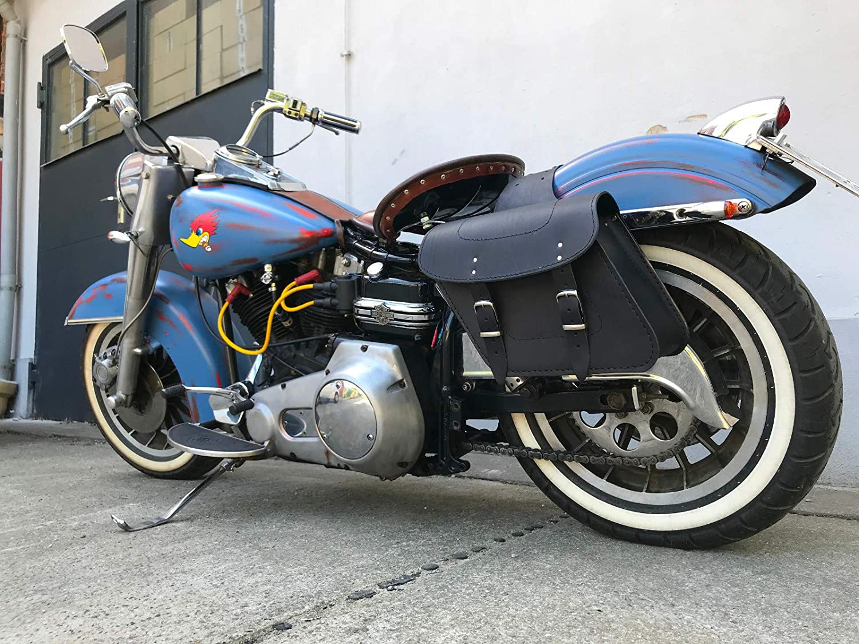 MERKUR Satteltaschen Chopper Biker Motorrad Seitenkoffer Qualit/ät ORLETANOS Ledertaschen Koffer Motorrad Harley Davidson HD schwarz Leder Taschen Bikertaschen Biker Fatboy Heritage Slim Breakout Set
