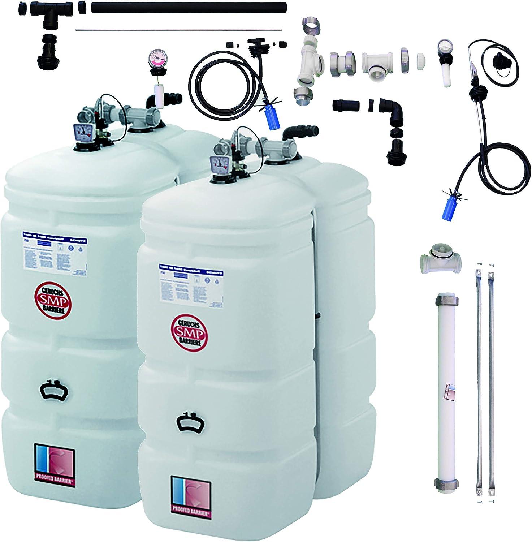 Kunststoff Zubeh/ör 2 x 1000 Liter Kompakt inkl SCH/ÜTZ /Öl-Lagerbeh/älter 2000 Liter Paket T102 Tank im Tank