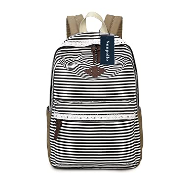 Amazon.com | Casual Backpack for Girls Teens, Striped Canvas ...
