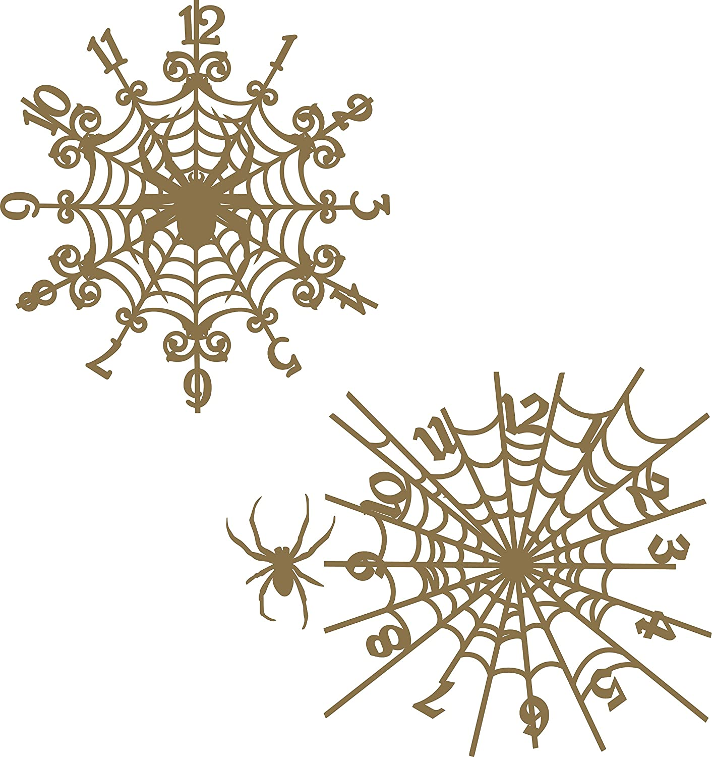 Spider Web Clock Set - Laser Cut Chipboard - 3 piece set Creative Embellishments
