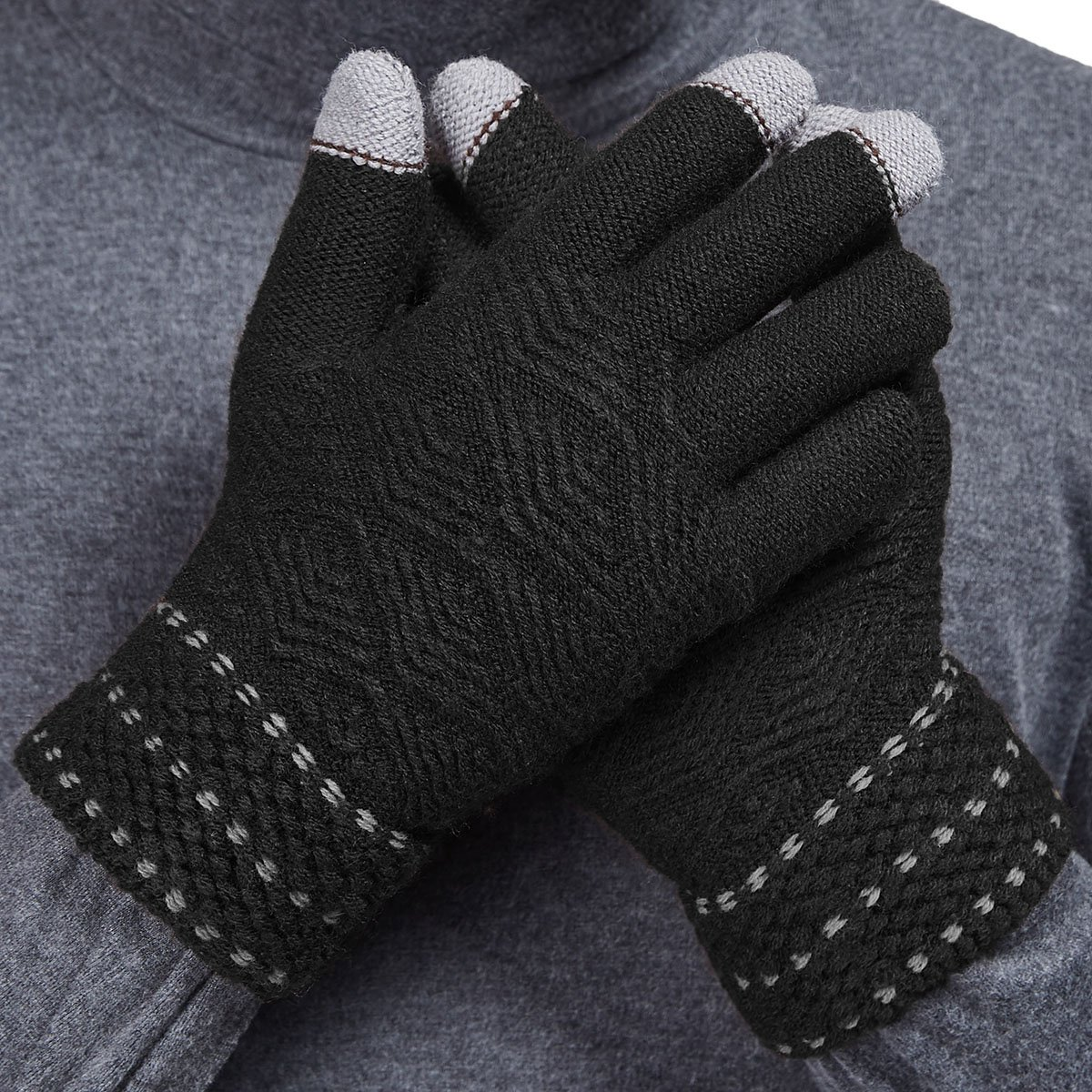 LETHMIK Winter Touchscreen Knit Gloves Mens Thick Texting Gloves with Warm Wool Lining Black