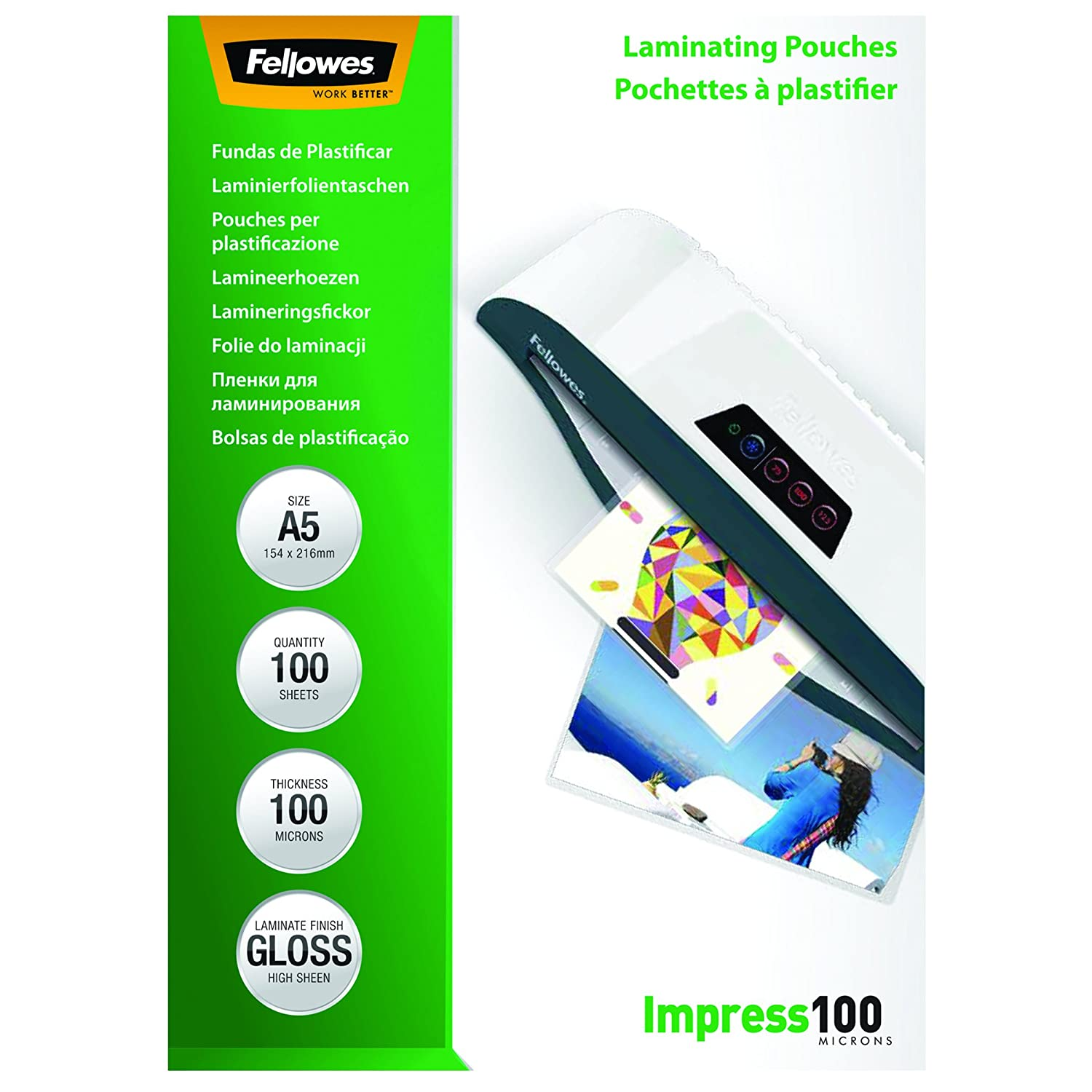Fellowes 5351002 - Pack de 100 fundas para plastificar, A5, acabado brillo, 100 micras