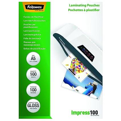 Fellowes 5351002 - Pack de 100 fundas para plastificar, A5, acabado brillo, 100 micras