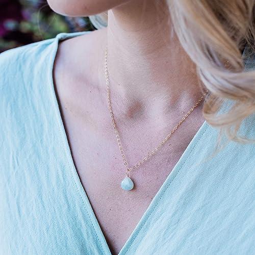 Aquamarine necklace gold tear drop necklace
