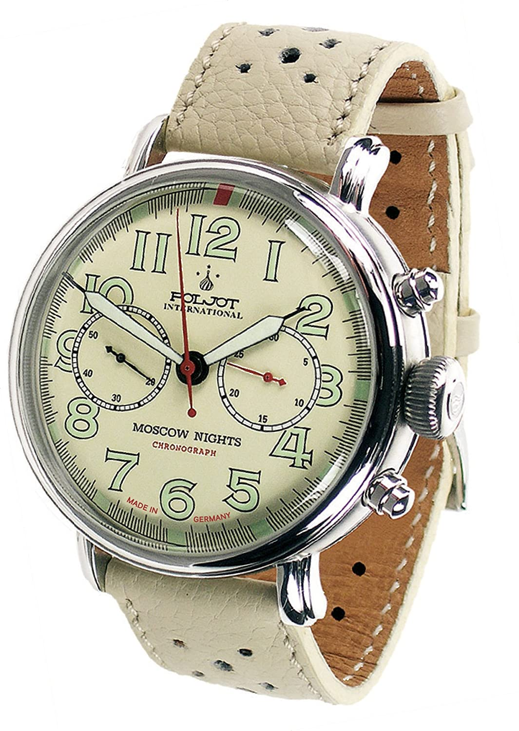 POLJOT Int Chronograph Herrenuhr Moscow Nights Handaufzug Mechanisch Lederband Russian Watch