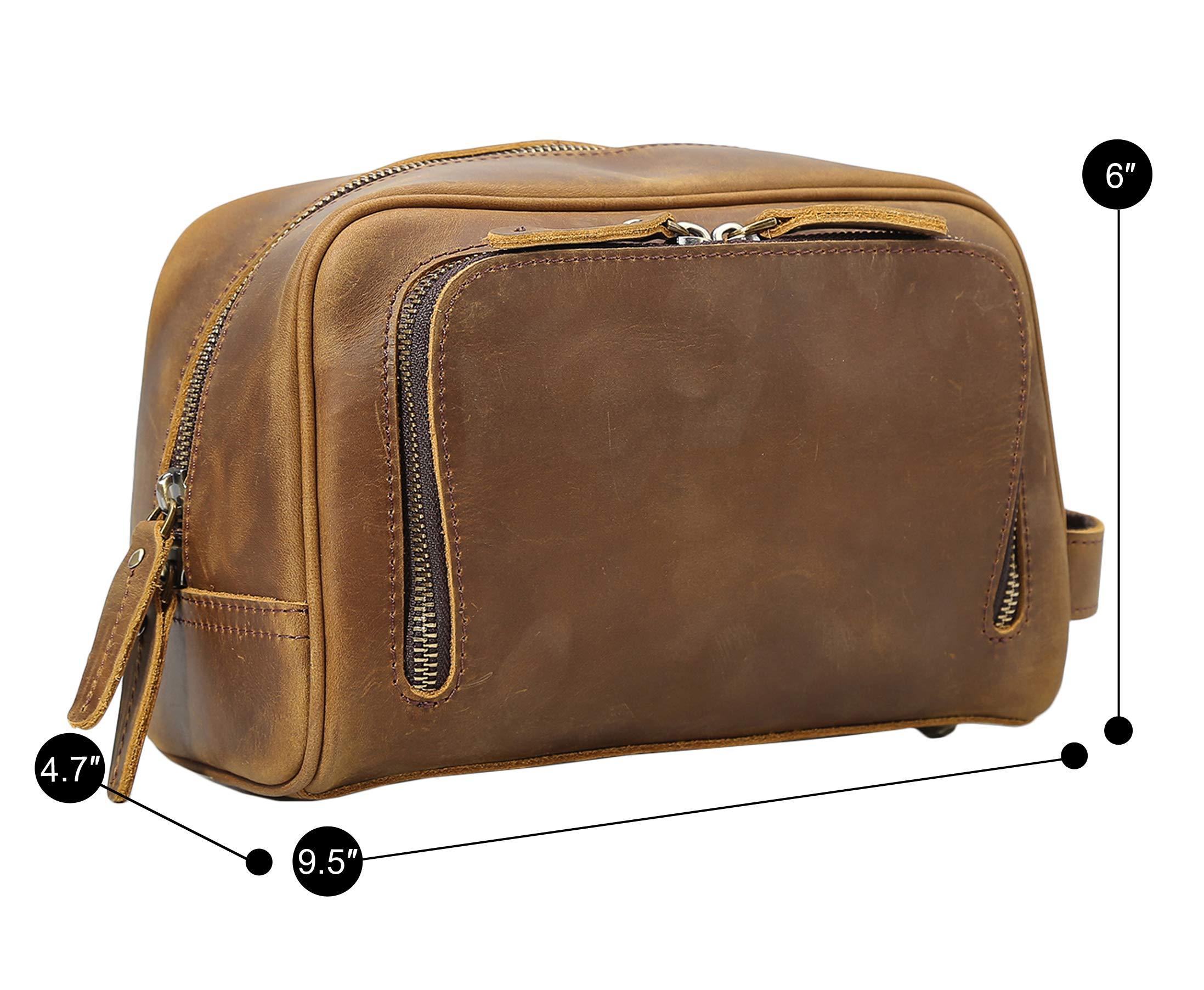 Polare Vintage Full Grain Leather Handmade Travel Toiletry Bag for Men - Dopp Kit - Shaving Kit by POLARE ORIGINAL (Image #2)
