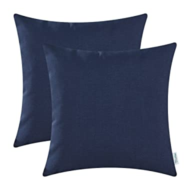 CaliTime Pack of 2 Throw Pillow Covers Cases for Couch Sofa Home Decoration High Class Faux Linen Solid Color 18 X 18 Inches Navy Blue
