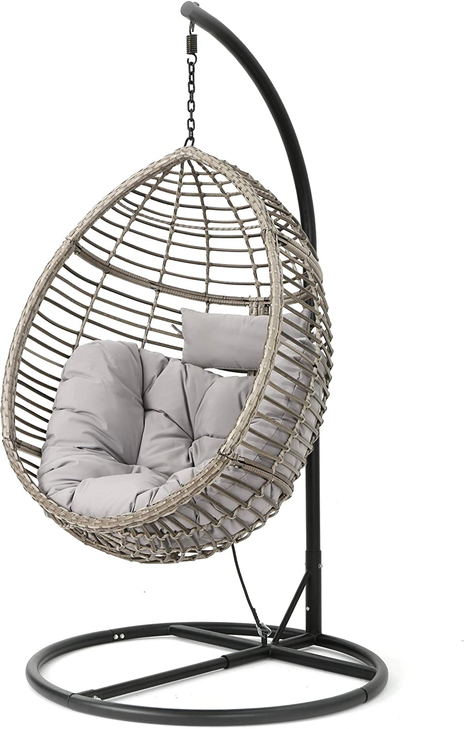 Amazon Com Christopher Knight Home Leasa Outdoor Wicker Hanging Basket Chair With Water Resistant Cushions And Iron Base Grey Black Garden Outdoor