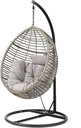 Christopher Knight Home Leasa Outdoor Wicker Hanging Basket Chair with Water Resistant Cushions and Iron Base, Grey Black