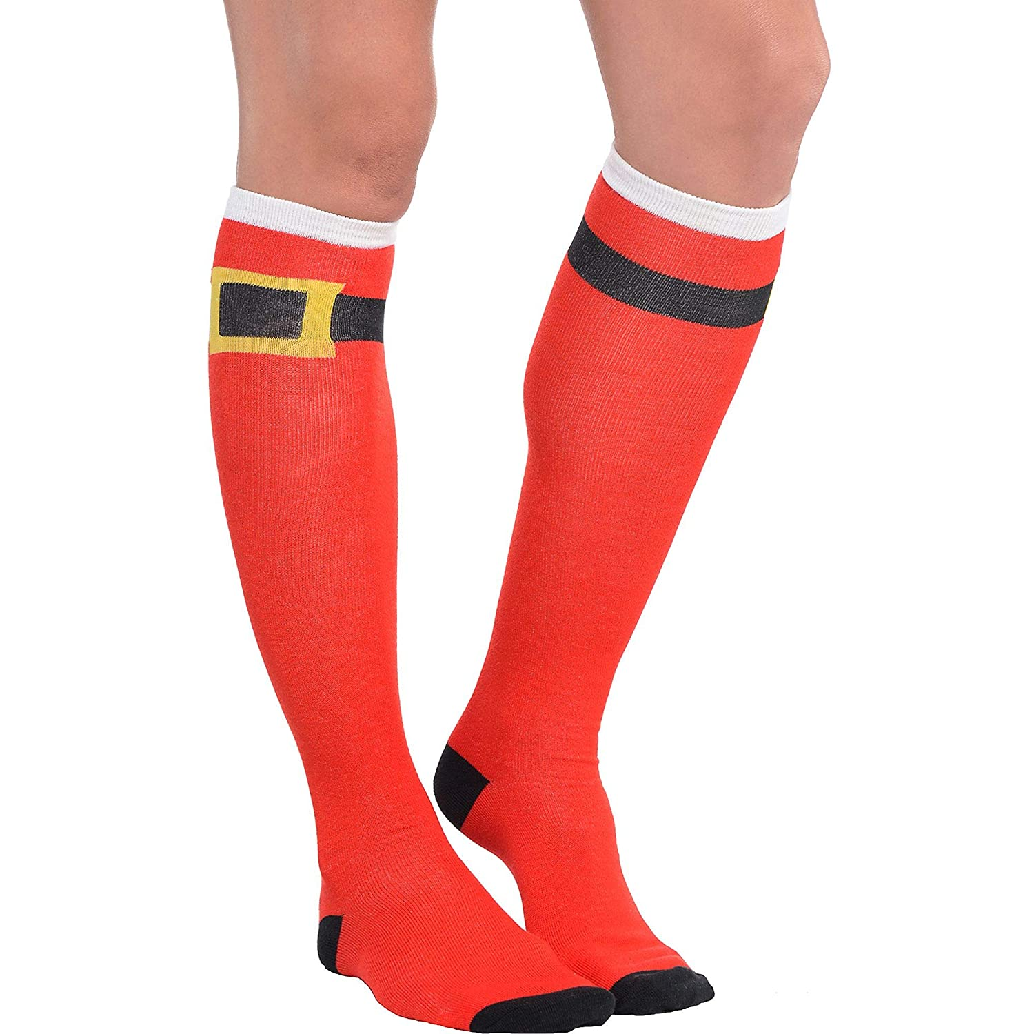 Pack of 2 amscan 392474 Fun-Filled Christmas and Holiday Party Santa Belt Knee Socks 23 3//4 Fabric Red