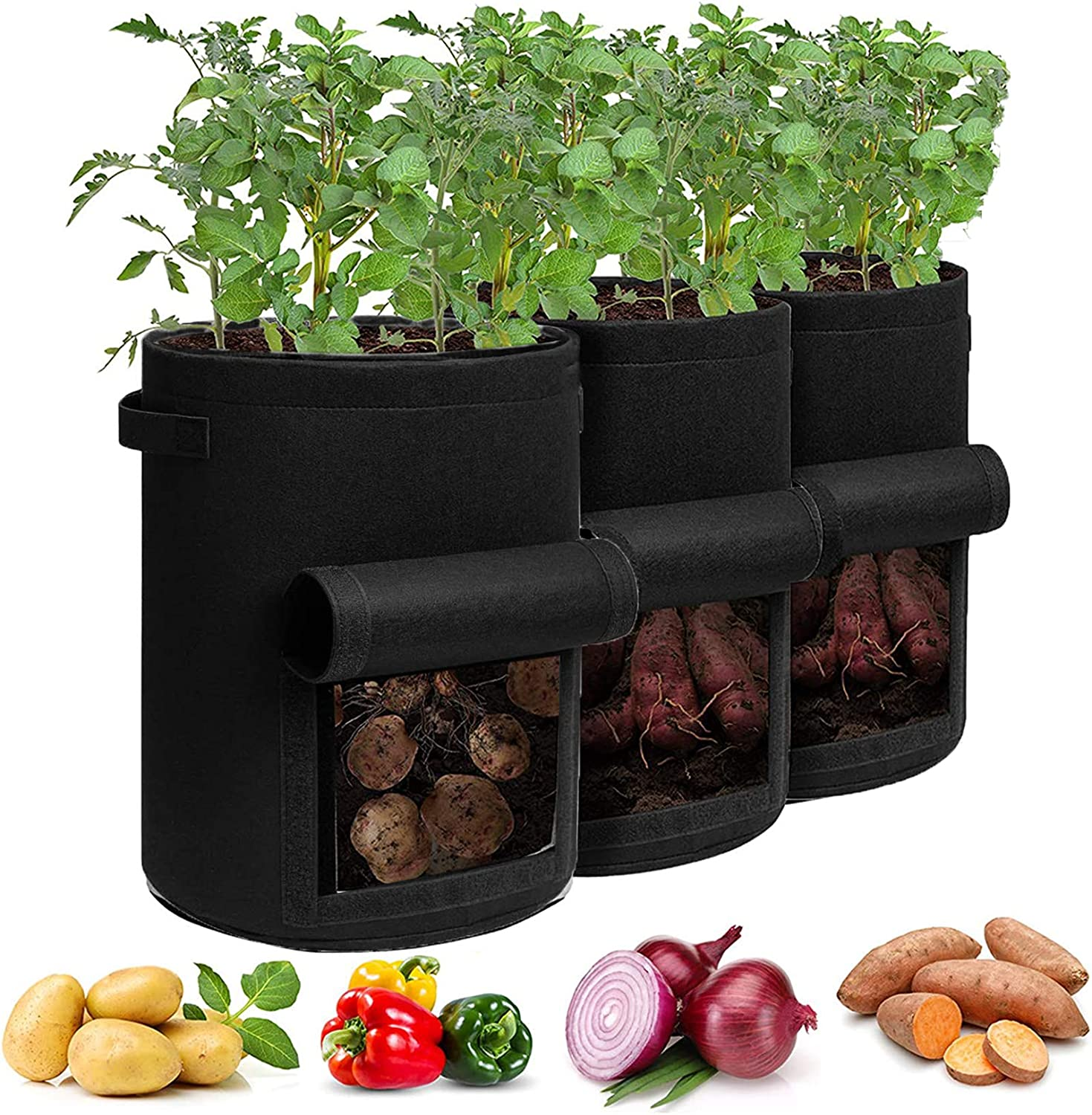 MFOX 3 Pack 10 Gallon Potato Grow Bags,Garden Planting Bags,Non-Woven Aeration Fabric Pot Growing Bags,Vegetables Planter Bags with Handle and Access Flap