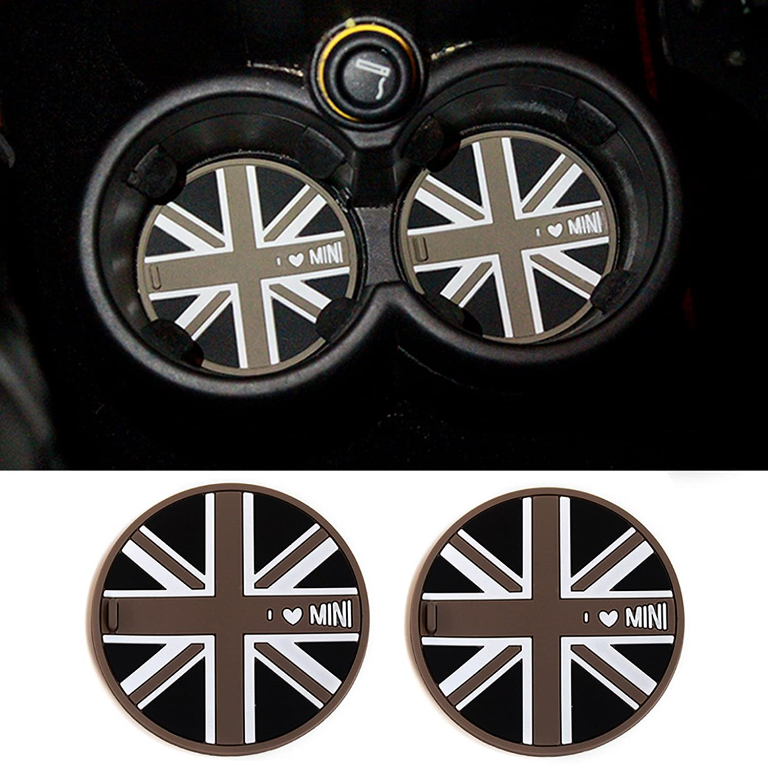 Soft Silicone Front Cup Holder Coasters For MINI Cooper R55 R56 R57 R58 R59-grey jack TTN