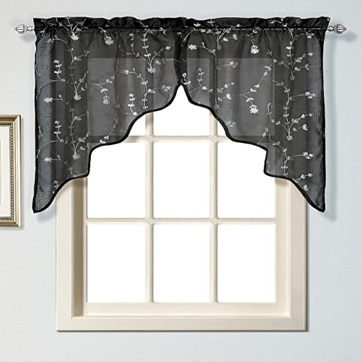 United Curtain Savannah Swags, 51 by 38-Inch, Black, Set of 2